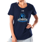 Ladies Under Armour Navy Charged Cotton Tee-Primary Logo