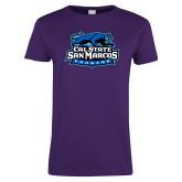 Ladies Purple T Shirt-Secondary Logo