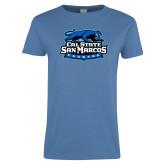 Ladies Arctic Blue T Shirt-Secondary Logo