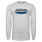 White Long Sleeve T Shirt-Tertiary Logo