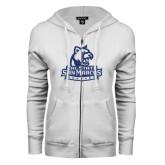 ENZA Ladies White Fleece Full Zip Hoodie-Primary Logo Dark Blue Glitter