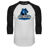White/Black Raglan Baseball T-Shirt-Primary Logo