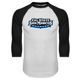 White/Black Raglan Baseball T-Shirt-Tertiary Logo