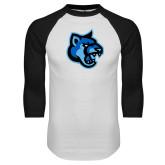 White/Black Raglan Baseball T-Shirt-Cougar Head