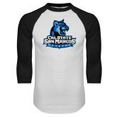 White/Black Raglan Baseball T-Shirt-Primary Logo Distressed