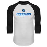 White/Black Raglan Baseball T-Shirt-Baseball Stacked