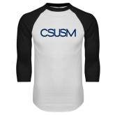 White/Black Raglan Baseball T Shirt-CSUSM