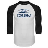 White/Black Raglan Baseball T Shirt-CSUSM with University
