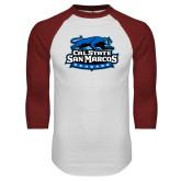 White/Cardinal Raglan Baseball T Shirt-Secondary Logo