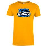 Ladies Gold T Shirt-Secondary Logo