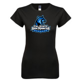 Next Level Ladies SoftStyle Junior Fitted Black Tee-Primary Logo