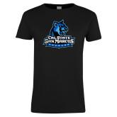 Ladies Black T Shirt-Primary Logo Distressed