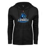 ENZA Ladies Black Fleece Full Zip Hoodie-Primary Logo