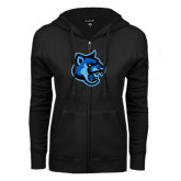ENZA Ladies Black Fleece Full Zip Hoodie-Cougar Head