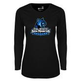 Ladies Syntrel Performance Black Longsleeve Shirt-Primary Logo