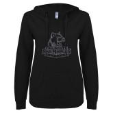 ENZA Ladies Black V Notch Raw Edge Fleece Hoodie-Primary Logo Graphite Soft Glitter