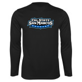 Performance Black Longsleeve Shirt-Tertiary Logo