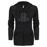 ENZA Ladies Black Light Weight Fleece Full Zip Hoodie-Primary Logo Graphite Soft Glitter