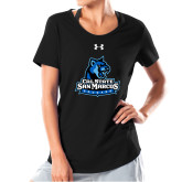 Ladies Under Armour Black Charged Cotton Tee-Primary Logo