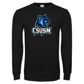 Black Long Sleeve TShirt-CSUSM Cougar Head