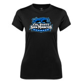Ladies Syntrel Performance Black Tee-Secondary Logo