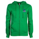ENZA Ladies Kelly Green Fleece Full Zip Hoodie-Primary Logo