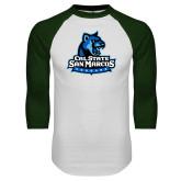 White/Dark Green Raglan Baseball T Shirt-Primary Logo