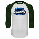 White/Dark Green Raglan Baseball T Shirt-Secondary Logo