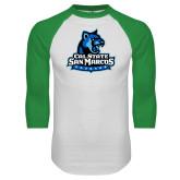 White/Kelly Green Raglan Baseball T Shirt-Primary Logo