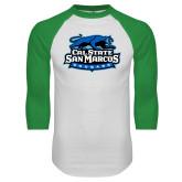 White/Kelly Green Raglan Baseball T Shirt-Secondary Logo