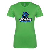 Next Level Ladies SoftStyle Junior Fitted Kelly Green Tee-Primary Logo