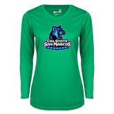 Ladies Syntrel Performance Kelly Green Longsleeve Shirt-Primary Logo