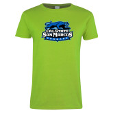 Ladies Lime Green T Shirt-Secondary Logo