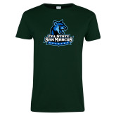 Ladies Dark Green T Shirt-Primary Logo