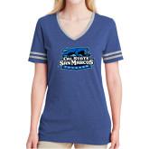 Ladies Royal Heather/Grey Tri Blend Varsity Tee-Secondary Logo