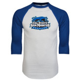 White/Royal Raglan Baseball T Shirt-Secondary Logo