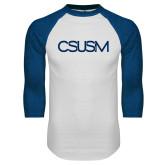 White/Royal Raglan Baseball T Shirt-CSUSM