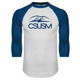 White/Royal Raglan Baseball T Shirt-CSUSM with University