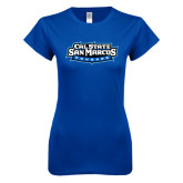 Next Level Ladies SoftStyle Junior Fitted Royal Tee-Tertiary Logo