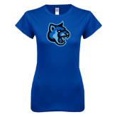Next Level Ladies SoftStyle Junior Fitted Royal Tee-Cougar Head