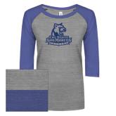ENZA Ladies Athletic Heather/Blue Vintage Baseball Tee-Primary Logo Dark Blue Glitter