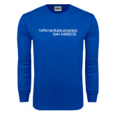 Royal Long Sleeve T Shirt-California State University San Marcos Word Mark