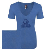 Next Level Ladies Vintage Royal Tri Blend V-Neck Tee-Primary Logo Dark Blue Glitter
