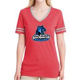 Ladies Red Heather/Grey Tri Blend Varsity Tee-Primary Logo