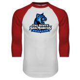 White/Red Raglan Baseball T Shirt-Primary Logo