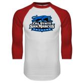 White/Red Raglan Baseball T Shirt-Secondary Logo