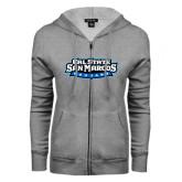 ENZA Ladies Grey Fleece Full Zip Hoodie-Tertiary Logo