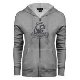 ENZA Ladies Grey Fleece Full Zip Hoodie-Primary Logo Graphite Soft Glitter