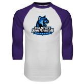 White/Purple Raglan Baseball T Shirt-Primary Logo