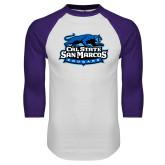 White/Purple Raglan Baseball T Shirt-Secondary Logo